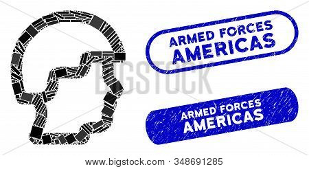 Mosaic Soldier Head And Corroded Stamp Seals With Armed Forces Americas Text. Mosaic Vector Soldier