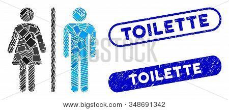 Mosaic Wc Persons And Corroded Stamp Seals With Toilette Caption. Mosaic Vector Wc Persons Is Compos