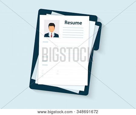 Resumes. Cv Application. Selecting Staff. Resume Template For Web Landing Page, Banner, Presentation