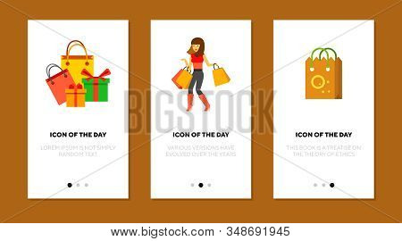 Shopping Flat Icon Set. Woman, Customer With Bags, Gift Boxes Isolated Sign Pack. Sale, Consumerism,