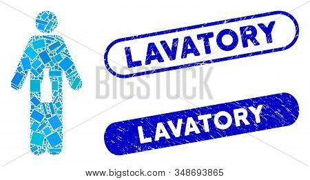 Mosaic Wc Man And Corroded Stamp Watermarks With Lavatory Text. Mosaic Vector Wc Man Is Created With
