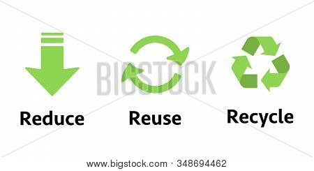Three Different Sign Reduce, Reuse, Recycle. Concept Ecology, Sustainability, Conscious Consumerism,