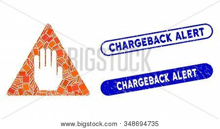 Mosaic Alert And Rubber Stamp Seals With Chargeback Alert Phrase. Mosaic Vector Alert Is Formed With
