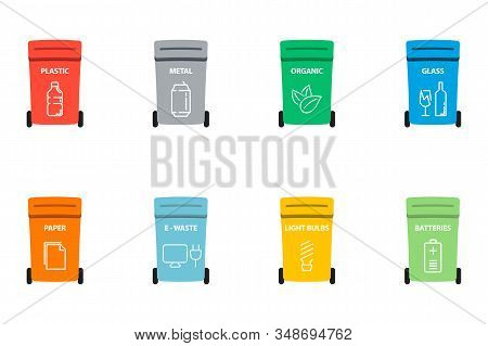 Recycle Bins With Recycle Symbol. Different Colored Trash Cans With Paper, Plastic, Glass And Organi
