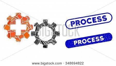 Mosaic Medical Process And Rubber Stamp Watermarks With Process Phrase. Mosaic Vector Medical Proces