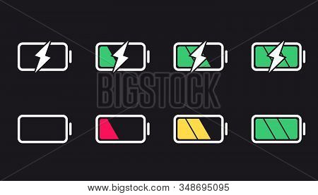 Battery Icons. Charge Level, Ui Design Elements Of Battery. Full Low And Empty Battery Status. Set O