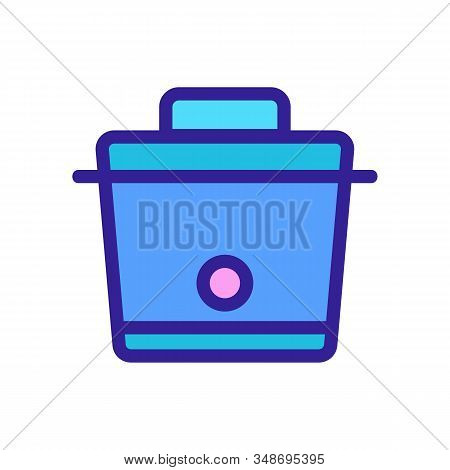 Slow Cooker Icon Vector. A Thin Line Sign. Isolated Contour Symbol Illustration