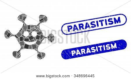 Mosaic Happy Microbe And Distressed Stamp Seals With Parasitism Text. Mosaic Vector Happy Microbe Is