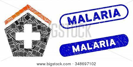 Mosaic Hospital And Corroded Stamp Seals With Malaria Phrase. Mosaic Vector Hospital Is Composed Wit