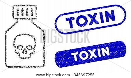 Mosaic Poison Phial And Grunge Stamp Seals With Toxin Text. Mosaic Vector Poison Phial Is Designed W