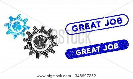 Mosaic Cogs Rotation And Rubber Stamp Seals With Great Job Text. Mosaic Vector Cogs Rotation Is Desi