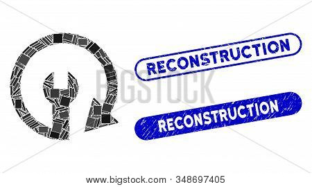 Mosaic Repeat Service And Rubber Stamp Seals With Reconstruction Text. Mosaic Vector Repeat Service