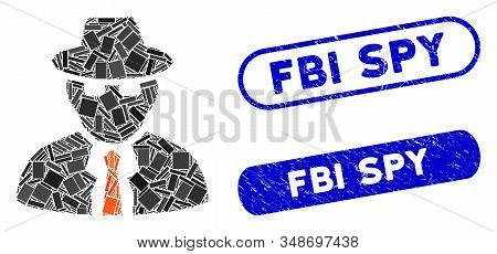 Collage Spy And Rubber Stamp Seals With Fbi Spy Text. Mosaic Vector Spy Is Designed With Random Rect