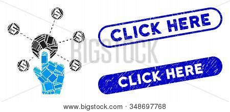 Mosaic Click Financial Network And Grunge Stamp Seals With Click Here Phrase. Mosaic Vector Click Fi