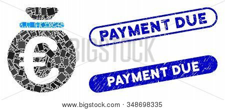 Mosaic Euro Fund And Rubber Stamp Seals With Payment Due Text. Mosaic Vector Euro Fund Is Designed W