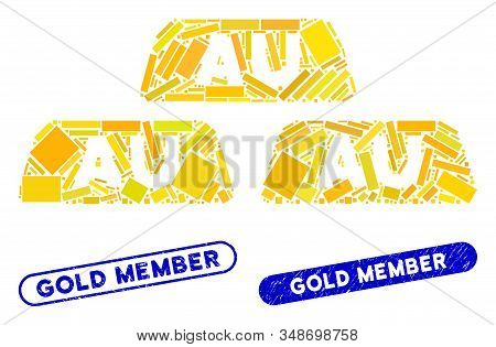 Mosaic Gold Bullions And Rubber Stamp Seals With Gold Member Text. Mosaic Vector Gold Bullions Is De