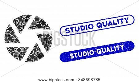 Mosaic Shutter And Distressed Stamp Seals With Studio Quality Phrase. Mosaic Vector Shutter Is Desig