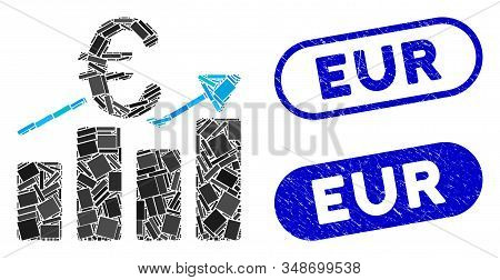 Mosaic Euro Business Bar Chart And Corroded Stamp Seals With Eur Phrase. Mosaic Vector Euro Business