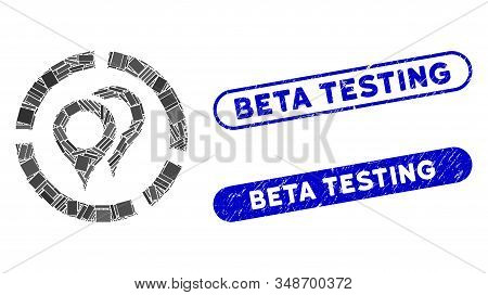 Mosaic Geotargeting Diagram And Distressed Stamp Seals With Beta Testing Text. Mosaic Vector Geotarg