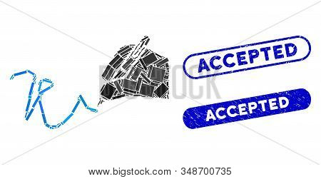 Mosaic Hand Signature And Rubber Stamp Seals With Accepted Phrase. Mosaic Vector Hand Signature Is C