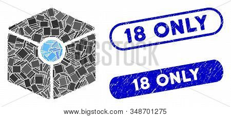 Mosaic Cube Vertex And Corroded Stamp Seals With 18 Only Text. Mosaic Vector Cube Vertex Is Composed
