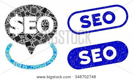 Collage Geotargeting Seo And Rubber Stamp Seals With Seo Text. Mosaic Vector Geotargeting Seo Is Com
