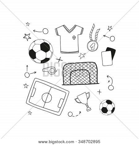 Soccer/football Symbols. Included The Icons As Balls, Winner Cup, Medal, T-shirts, Football Pitches,