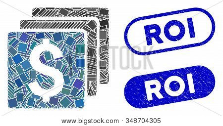 Mosaic Finances And Rubber Stamp Seals With Roi Text. Mosaic Vector Finances Is Created With Random