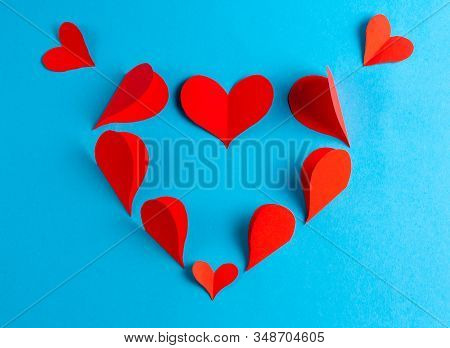 Origami Hearts Blank For Greeting Card. Stock Photo Top View.
