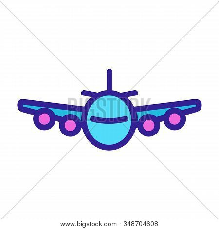 Passenger Plane Icon Vector. A Thin Line Sign. Isolated Contour Symbol Illustration