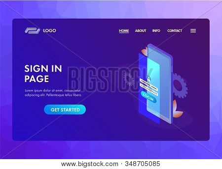 Sign In Login Form Concept. Ui Ux Material Web Design Template With Smartphone Login Screen Window A