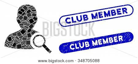 Mosaic Find User And Corroded Stamp Watermarks With Club Member Text. Mosaic Vector Find User Is Des