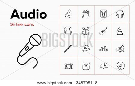 Audio Icons. Set Of Line Icons On White Background. Record, Music Speaker, Musical Instruments. Musi