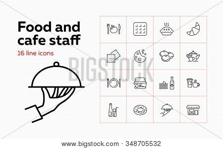Food And Cafe Staff Icons. Set Of Line Icons On White Background. Food And Catering Concept. Biscuit