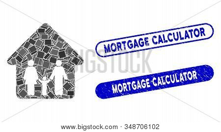 Mosaic Family Home And Corroded Stamp Seals With Mortgage Calculator Text. Mosaic Vector Family Home