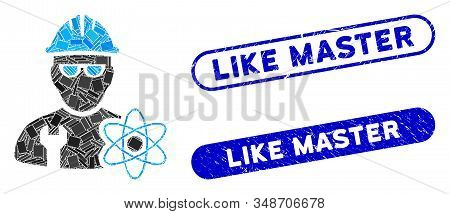 Mosaic Industrial Scientist And Distressed Stamp Seals With Like Master Phrase. Mosaic Vector Indust