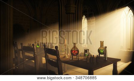 Secret Chamber With Laboratory In The Old Gothic Castle. 3d Illustration.