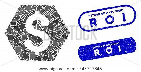 Collage Finance And Corroded Stamp Seals With Return Of Investment R O I Text. Mosaic Vector Finance