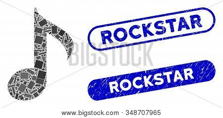 Mosaic Musical Note And Rubber Stamp Seals With Rockstar Caption. Mosaic Vector Musical Note Is Crea