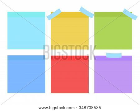 Sticky Notes. Set Of Yellow Sticky Notes Vector Illustration. Multicolor Post It Notes Isolated