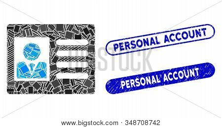 Collage Account Card And Distressed Stamp Seals With Personal Account Text. Mosaic Vector Account Ca