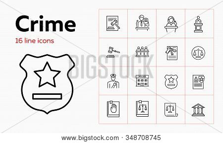 Crime Line Icon Set. Witness, Jury Box, Police Office. Justice Concept. Can Be Used For Topics Like