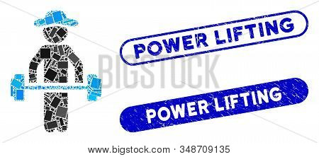 Mosaic Gentleman Power Lifting And Rubber Stamp Seals With Power Lifting Text. Mosaic Vector Gentlem