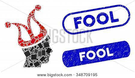 Collage Joker Guy And Grunge Stamp Seals With Fool Text. Mosaic Vector Joker Guy Is Composed With Ra