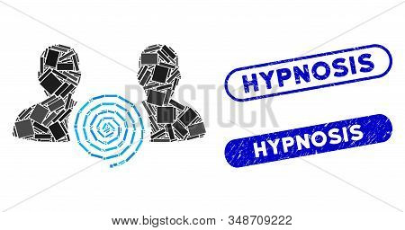 Mosaic Hypnosis Sect And Rubber Stamp Seals With Hypnosis Caption. Mosaic Vector Hypnosis Sect Is De