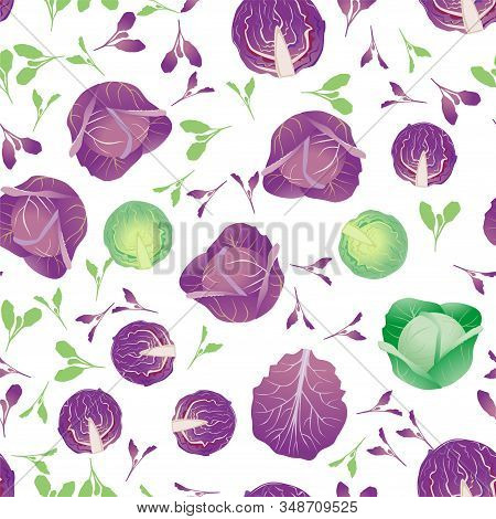 Cute Seamless Pattern With Cartoon Head Of Cabbage