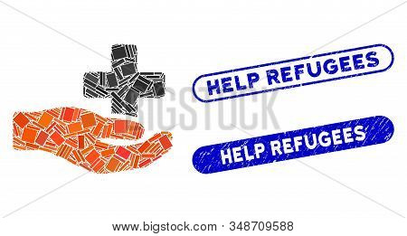 Mosaic Health Care Donation And Corroded Stamp Seals With Help Refugees Text. Mosaic Vector Health C