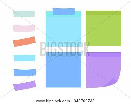 Set Of Yellow Sheets Of Note Papers. Colored Sheets Of Note Papers Vector Illustration