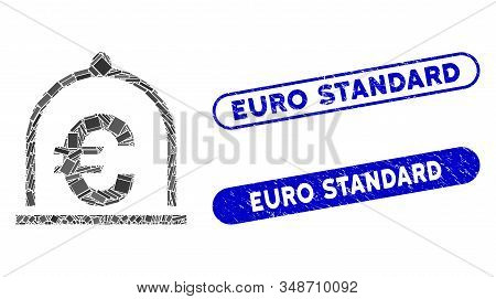 Mosaic Euro Standard And Grunge Stamp Seals With Euro Standard Text. Mosaic Vector Euro Standard Is