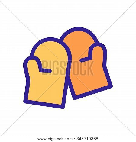 Fireproof Mittens Icon Vector. A Thin Line Sign. Isolated Contour Symbol Illustration